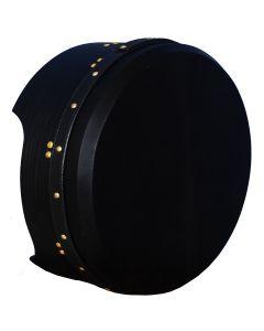 14″X5″ MUSIKHAUSPRINCE TUNABLE DEEP RIM BODHRAN MULBERRY BLACK T-BAR BLACK SKIN